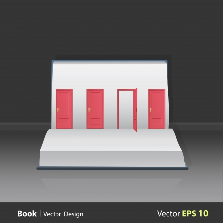 popup: Four red doors on popup book. Vector illustration.  Illustration