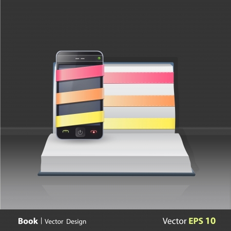 Realistic Phone on popup book. Vector illustration.  Stock Vector - 23462218