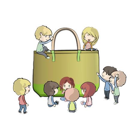 reusable: Kids around green bag. Vector design