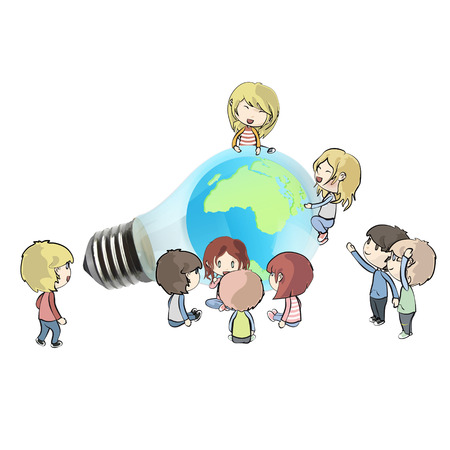 Kids around Eco light bulb with world inside. Vector background illustration.  Vector