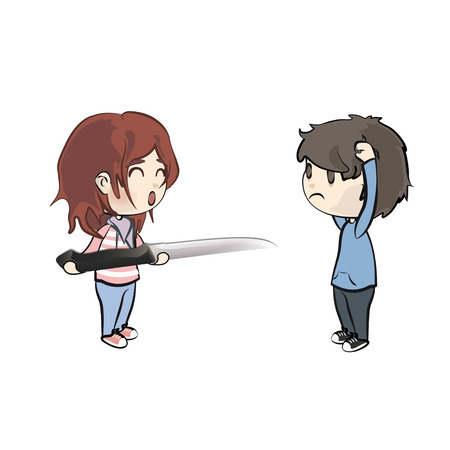 Girl holding a realistic knife. Vector design  Vector