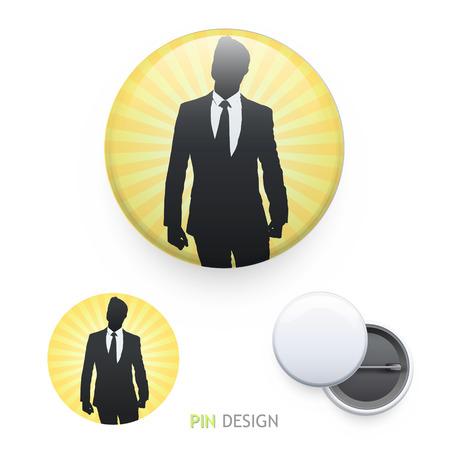 himself: Businessman proud of himself printed on pin. Vector design.  Illustration