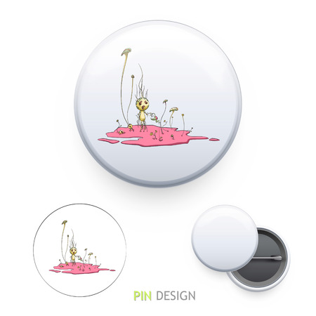 Cute illustration printed on pin. Vector design.  Vector