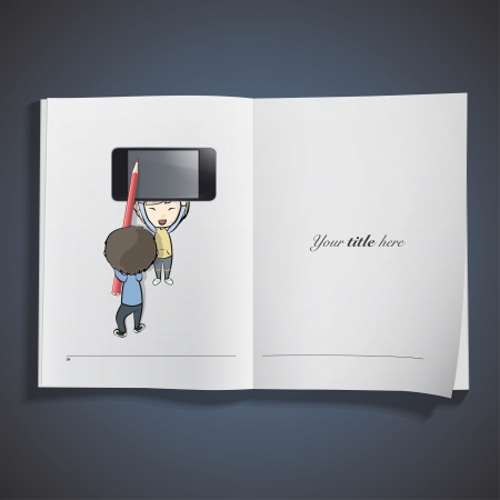 Kid holding a phone printed on book. Vector design.  Vector