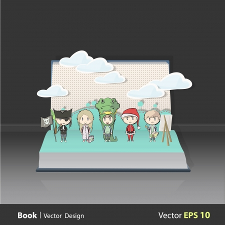 People dressed on popup book. Vector illustration.  Vector