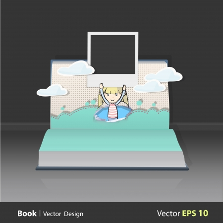 Girl holding photo on popup book. Vector illustration.  Vector