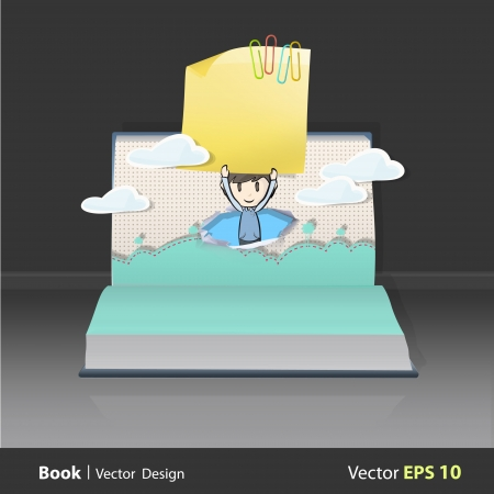 posit: Kid holding yellow paper on popup book. Vector illustration.  Illustration
