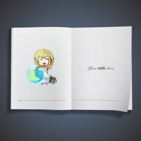 Cute girl holding Eco light bulb printed on book. Vector design.  Vector