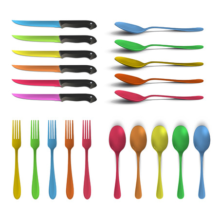 Set of colorful knives, forks and spoons over white background. Vector design.  Vector