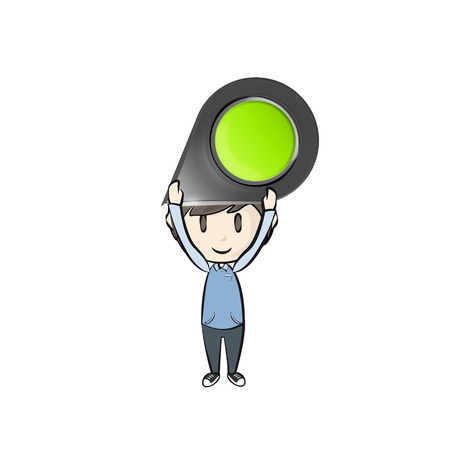 Kid holding a pointer for insert. vector design Vector