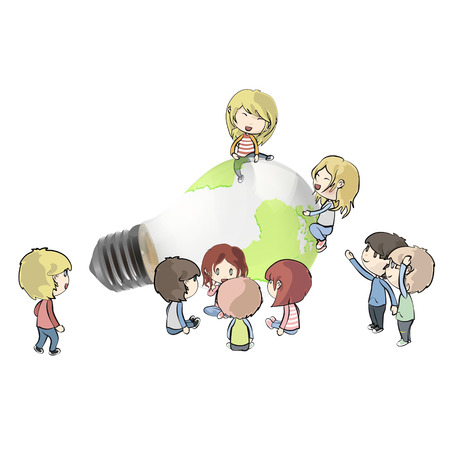 Kids around Eco light bulb with a world inside. Vector design.  Vector