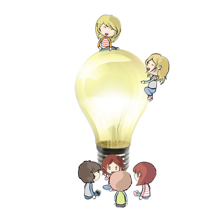 Kids around lightbulb. Realistic vector design.  Vector