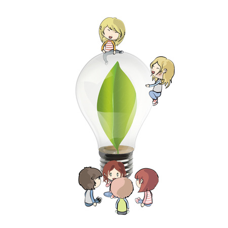 Kids around Bulb with a green leaf inside. Realistic vector design  Vector