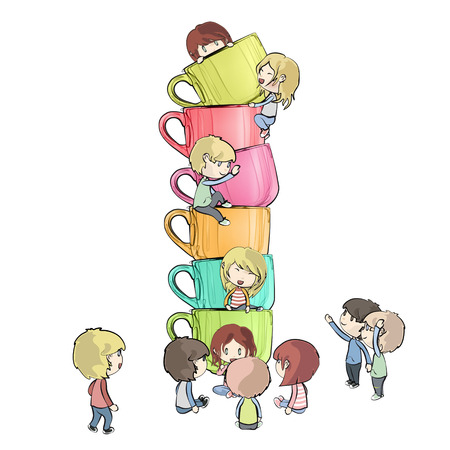 Kids around colorful cups. Vector design.  Vector