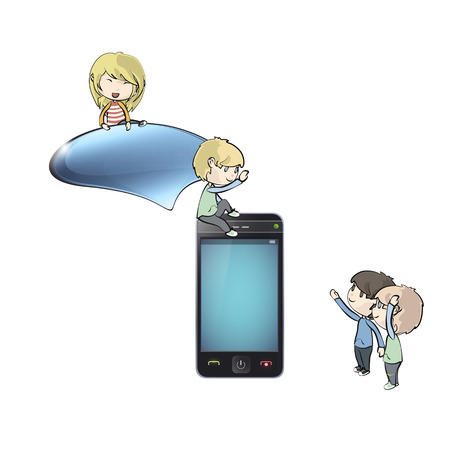Kids around Phone with speech bubble. Vector design.