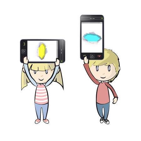 Kids holding Phones with colorful holes. Vector illustration.  Vector