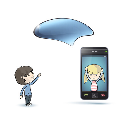 Kids around Phone with speech bubble. Vector design.  Vector