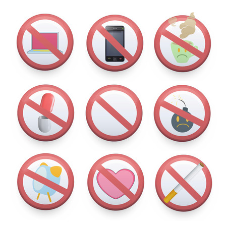 Set of prohibited signs. Vector design  Vector