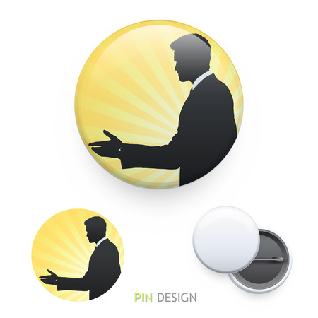 Businessman making a deal printed on pin. Vector design.  Vector