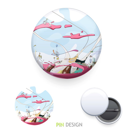 Funny world printed on pin. Vector design.  Vector