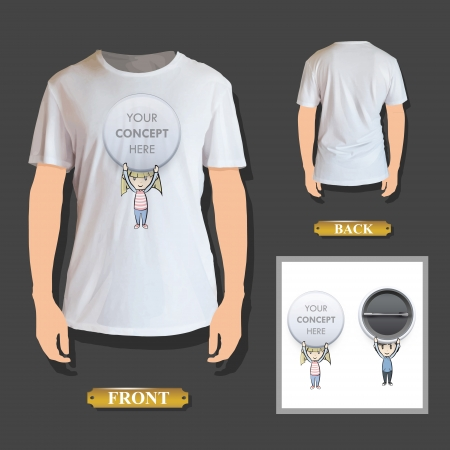 Kids holding pins printed on shirt. Vector design. Vector