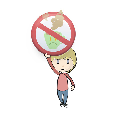 Jong geitje dat verboden teken met een kopje koffie. Vector design