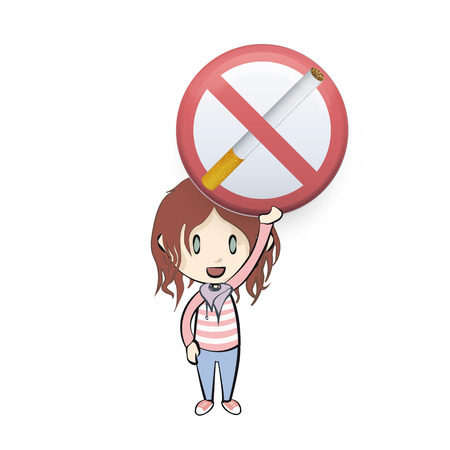 cigar shape: Kid holding prohibited sign with cigar. Vector design
