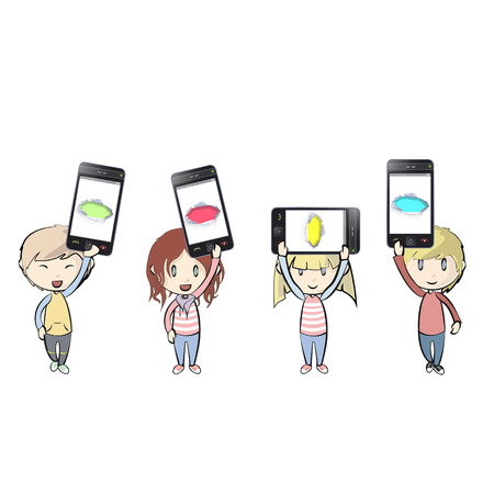 Kids holding Phones with colorful holes. Vector illustration.  Illustration
