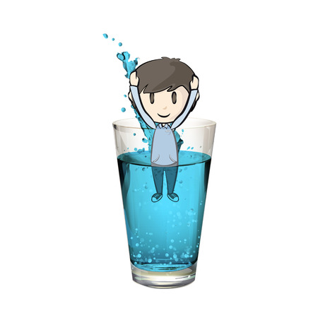 Kid into a water glass. Vector design.  Vector