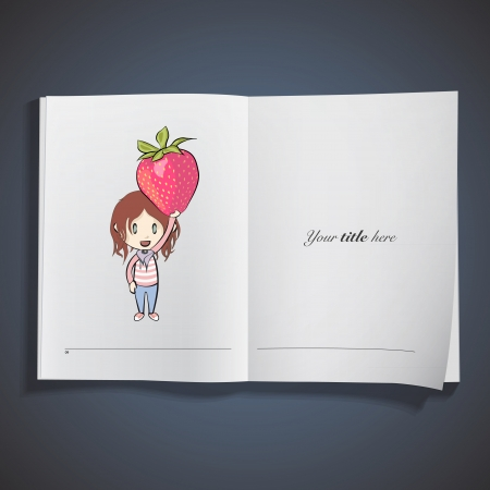 Kid holding strawberry printed on book. Vector design. Stock Vector - 23777426