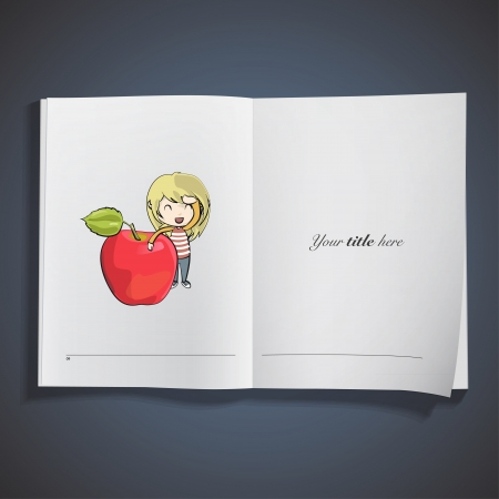 Girl holding apple printed on book. Vector design.  Stock Vector - 23777427