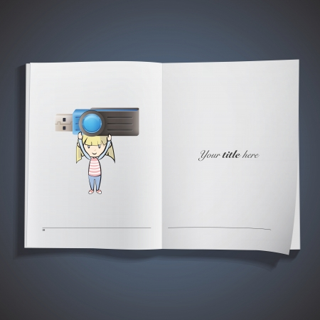 Girl holding a realistic pen drive printed on book. vector design Stock Vector - 23777431