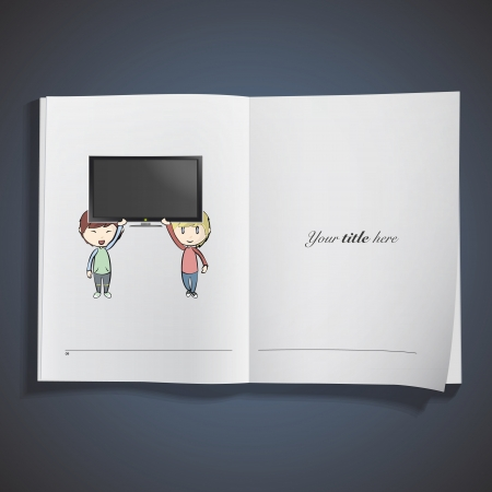 Kids holding TV printed on book. Vector design.  Stock Vector - 23777434