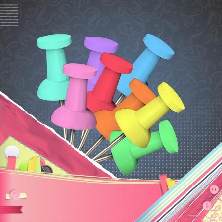 pushpins: Conjunto de marcadores de colores. Dise�o vectorial