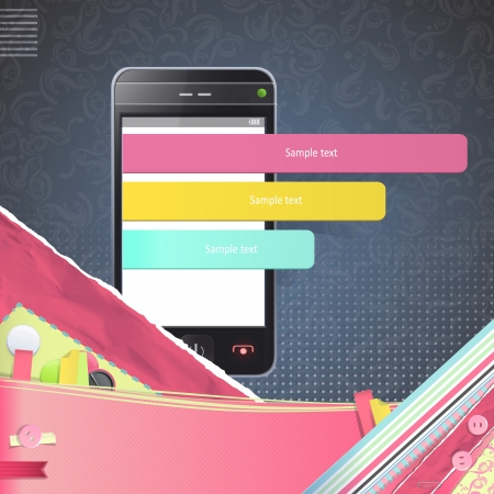 Realistic Phone with colorful select button. Vector illustration.  Vector