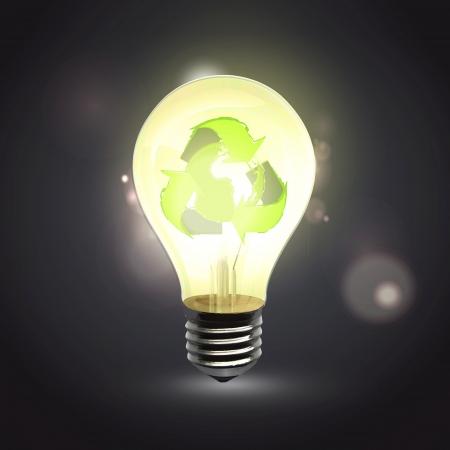 Realistic eco lightbulb isolated over black. Vector design. Stock Vector - 23867923