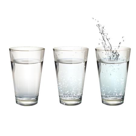 vaso con agua: Conjunto de vasos de agua realistas con diferentes acciones. Diseño vectorial
