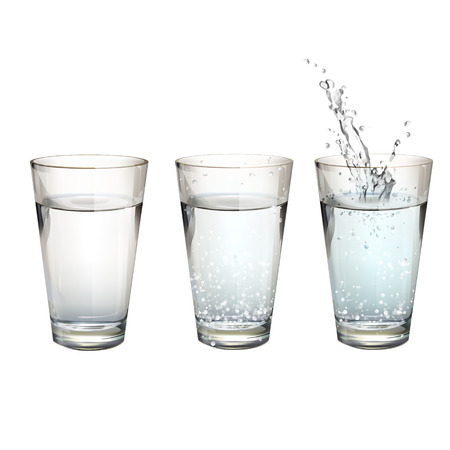 Set of realistic water glasses with different actions. Vector design  Illustration