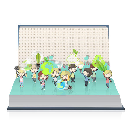 book vector: Kids holding ecological icons on book. Vector design  Illustration