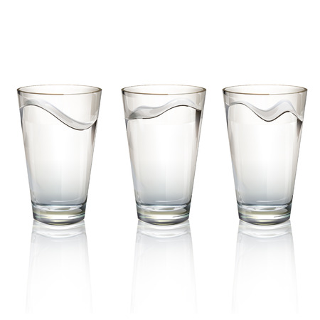 Set of realistic water glasses with different waves. Vector design  Vector