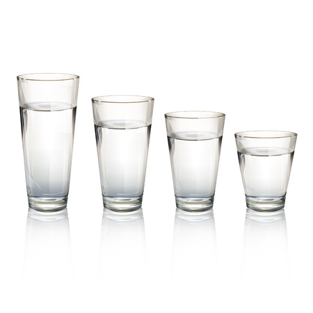 Set of realistic water glasses with different sizes. Vector design  Vector