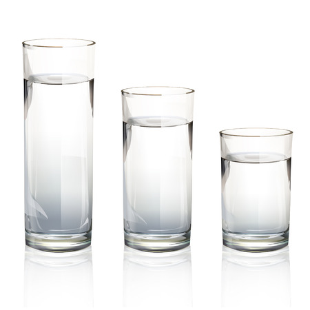 purified: Set of realistic water glasses with different sizes. Vector design