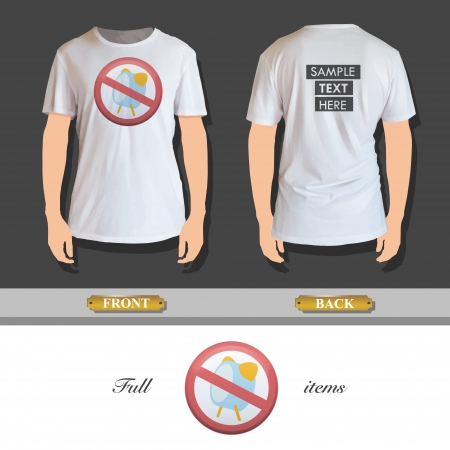 button up shirt: prohibited sign with alarm printed on t-shirt. Vector design.