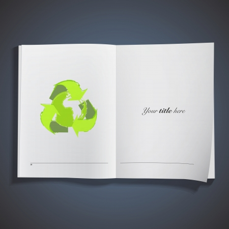 Recycle icon with world inside printed on book. Vector design.  Vector