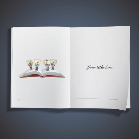 open notebook: Open book with different emotions.. Vector design.