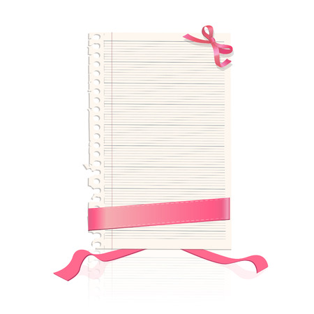 Sheet of notebook with red ribbons  Vector design  Vector