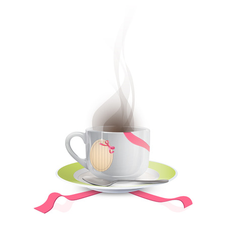 White cup with tea-bag with red ribbons  Vector design  Stock Vector - 23993522