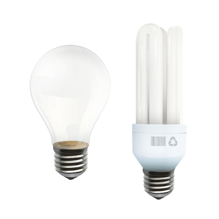 Realistic bulbs isolated over white  Vector design   Vector