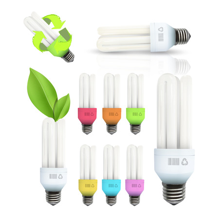 Set of light bulbs isolated over white  Vector design   Vector