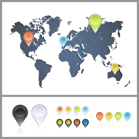 Worlds map over white background  Vector background Vector
